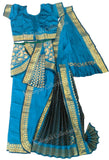 Readymade Kuchipudi Costume - Teal/Peacock Blue