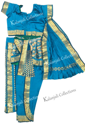 Readymade Kuchipudi Costume - Peacock Green