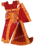 Kuchipudi Dress Costume - Red and Orange