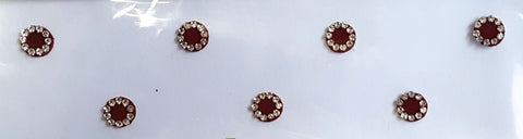 Fancy Round Maroon Color Bindi with Stones