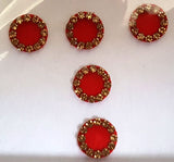 Fancy Round Orange Color Bindi with Gold Stones
