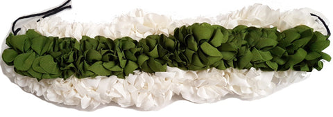 Synthetic Cloth White Green Flower Gajra Band 3 Strings-Sharp Edge