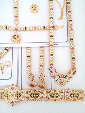 Multi Color Stone Dance Jewelry Set for Kuchipudi Bharatanatyam STNSET807