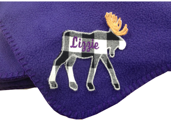 Personalized Fleece Moose Blanket with Name