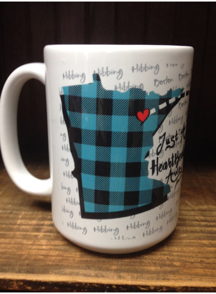 Personalized Coffee Mug - Just a Heart Beat Away - White, 15 Ounce Coffee Cup