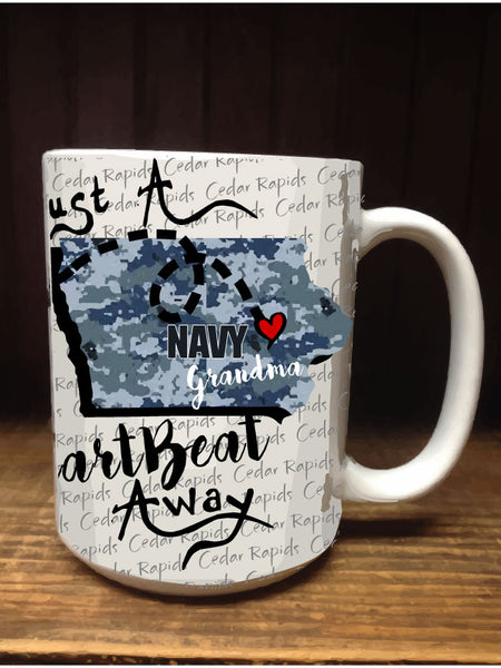 Personalized Coffee Mug - Navy - 15 Ounce Coffee Cup