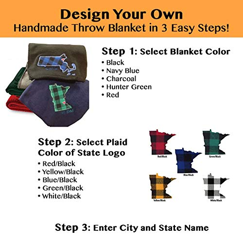 State Themed Fleece Blanket with City Embroidery