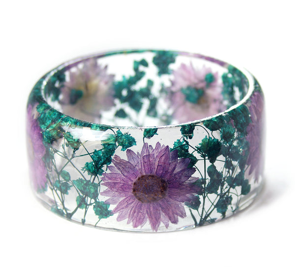 Teal and Purple Flowers Bracelet