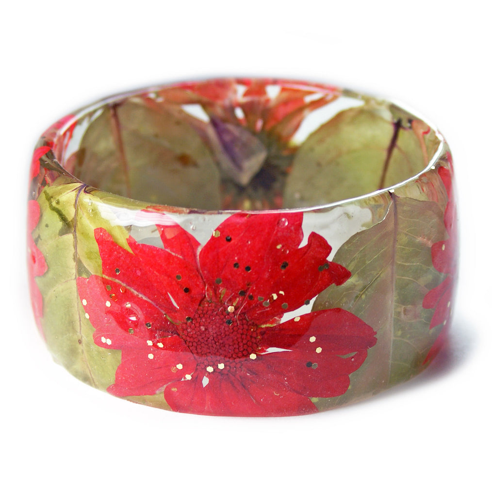 Coral and Green Flower Bracelet