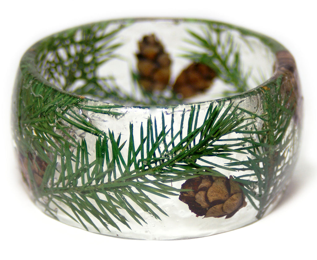 Wide Pine Tree Forest Bracelet