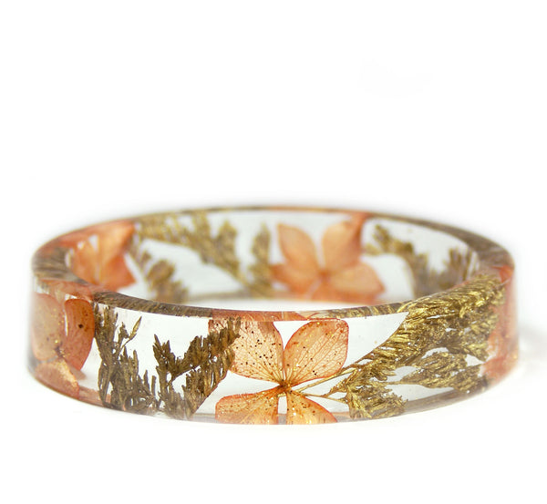 Peach and Gold Flowers Bracelet