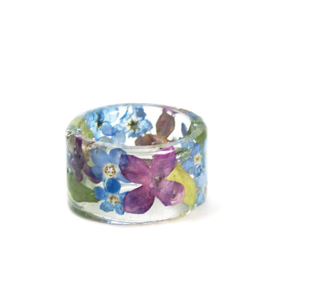 Purple and Blue Flower Ring