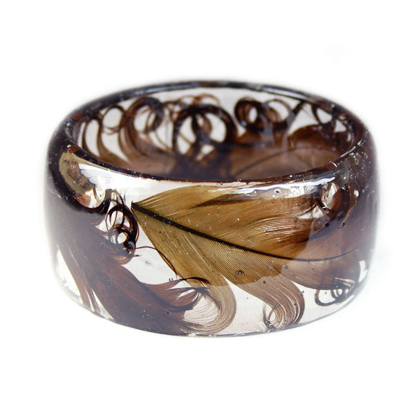 Curly Brown Feather Bracelet
