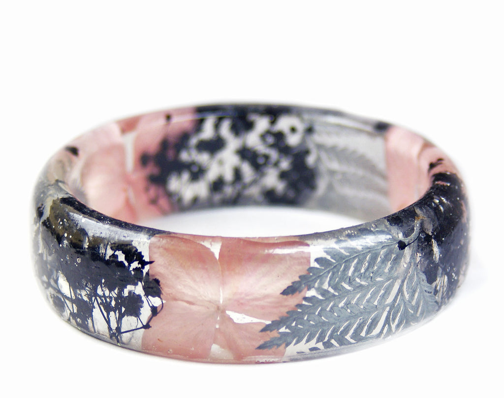 Pink, Silver and Black Flower Bracelet