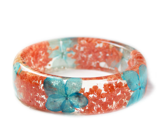 Turquoise and Coral Flower Bracelet