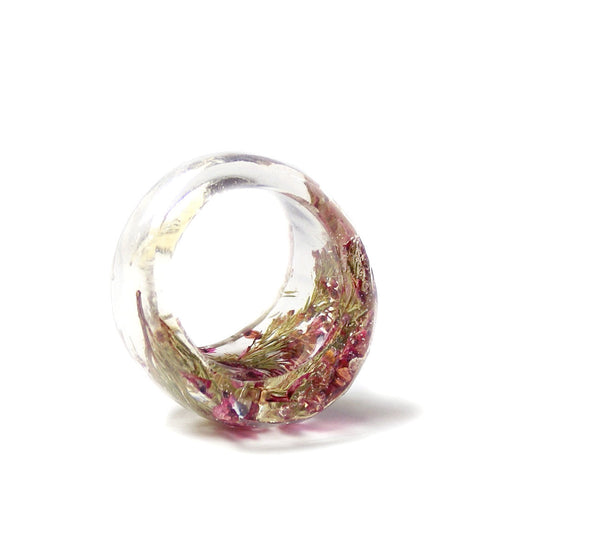 Pink Heather Flower Ring