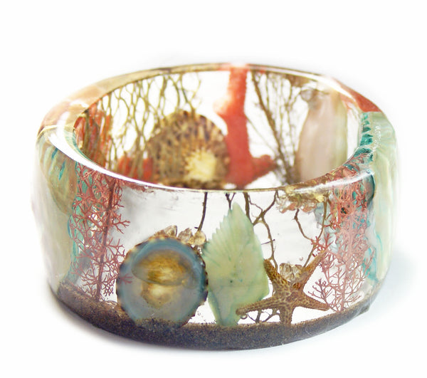 Wide Turquoise and Coral Shell Bracelet