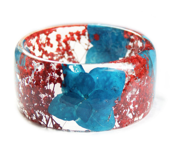 Turquoise and Red Flower Bracelet
