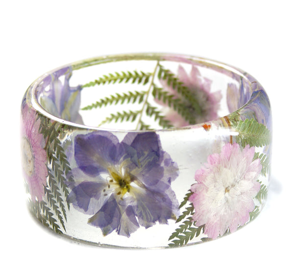 Pink and Purple Flower and Fern Bracelet