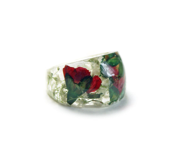 Red Rose Bouquet Ring