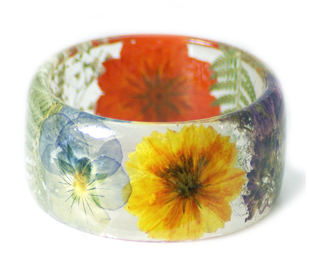 Wide Rainbow Flowers Bracelet