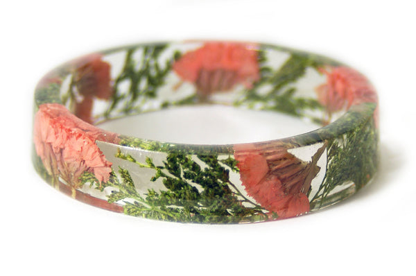 Coral Flower and Greenery Bracelet