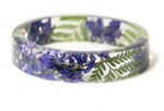 Purple Larkspur and Green Fern Bracelet