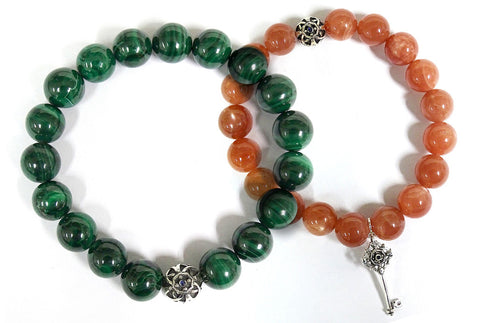 Malachite and Moonstone Beaded Bracelets