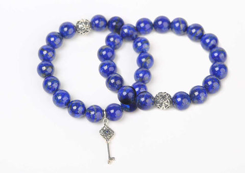 Pair of lapis beaded bracelets