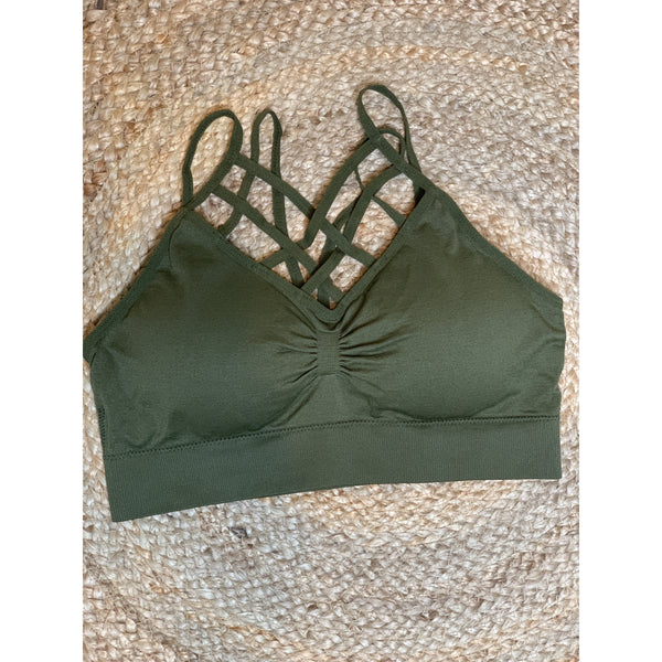 Olive Green caged bralette