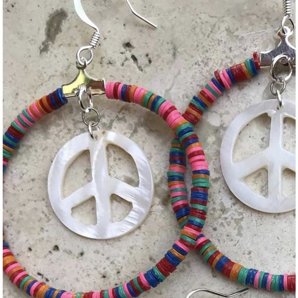Peace Hoop Earrings with heishi beads