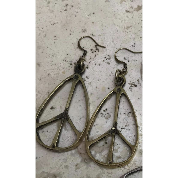 Teardrop Peace Sign Earrings bronze tone