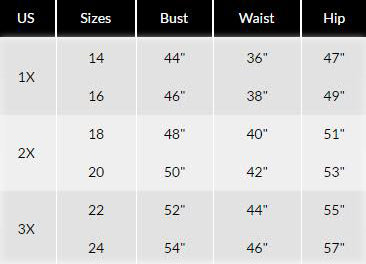 shoptoni plus size sizing chart