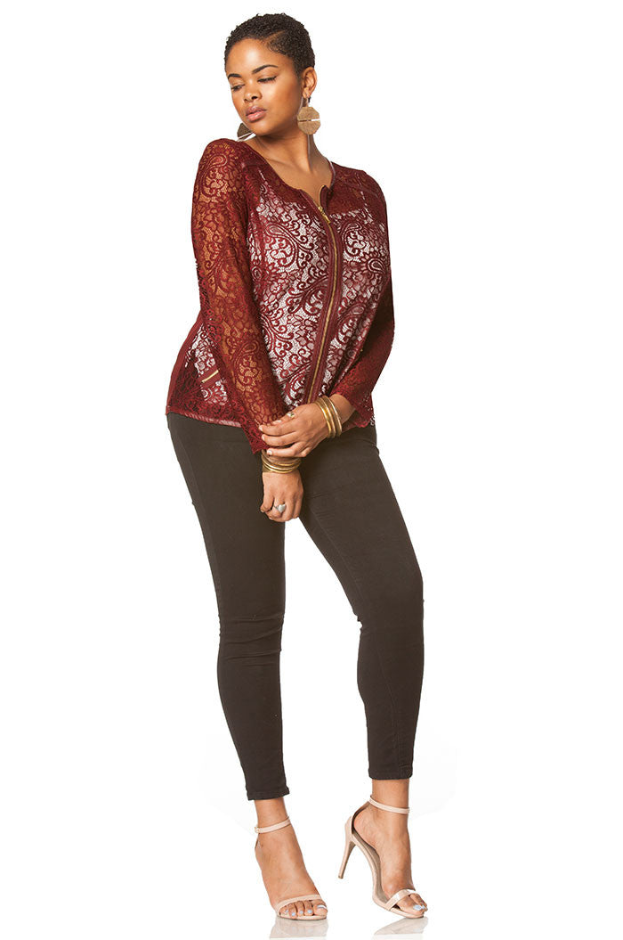 Aviana Lace Plus Size Jacket In Burgundy, Plus Size - shoptoni.com