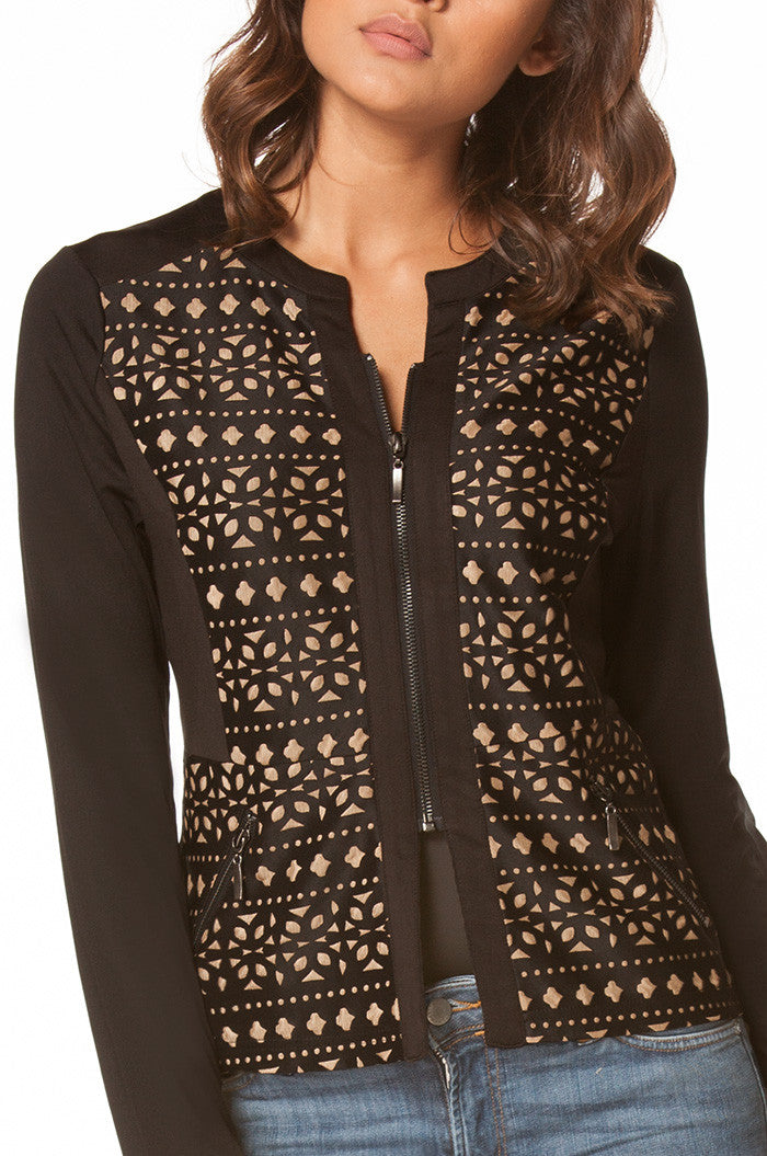 Hanna Laser Cut Jacket in Black, Jackets & Vests - shoptoni.com