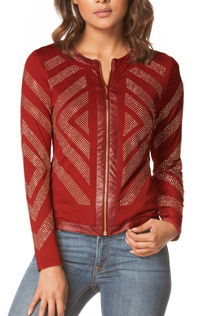 Nicole Embellished Blazer in Burgundy, Jackets & Vests - shoptoni.com