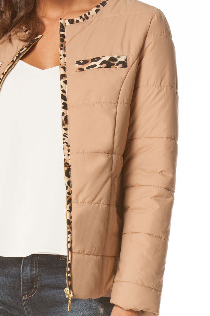 Jessica Puffer Jacket In Beige, Jackets & Vests - shoptoni.com