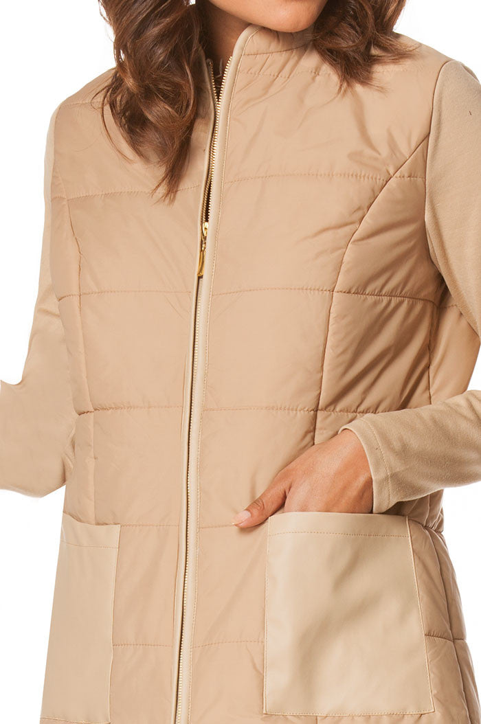 Long Puffer Coat In Beige, Jackets & Vests - shoptoni.com