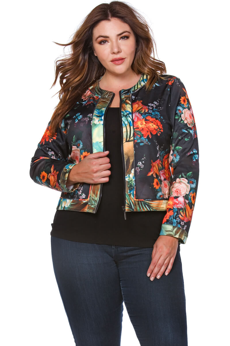 Danielle Plus Size Floral Scuba Jacket for Women