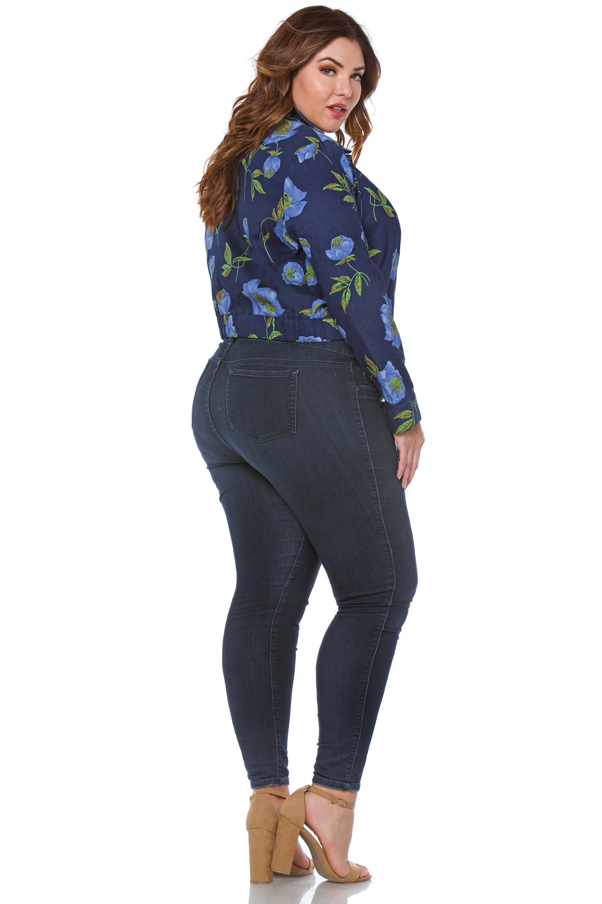 Cordis Plus Size Floral Denim Jacket for Women