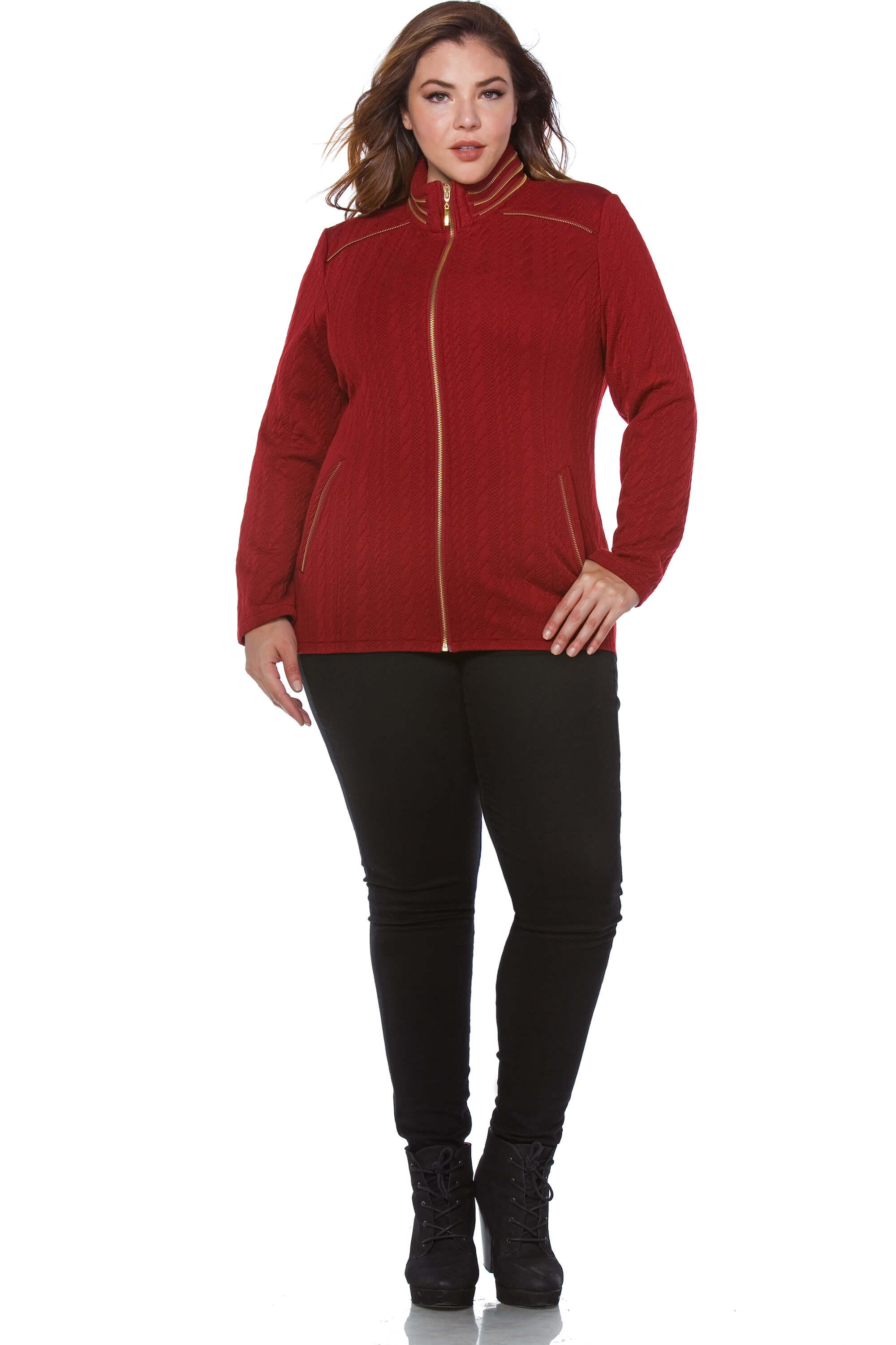 Rhea Plus Size Women's Rope Texture Jacket