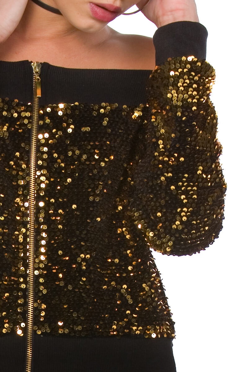 Charisma Off the Shoulder Sequin Bomber Jacket for Women