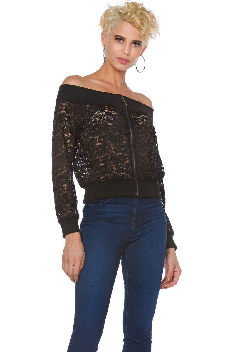Fiona Off the Shoulder Lace Bomber Jacket for Women