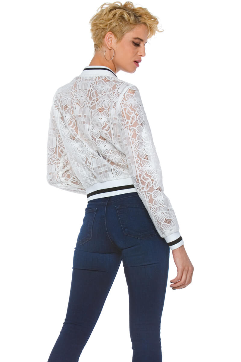 Verve Lace Bomber Jacket for Women