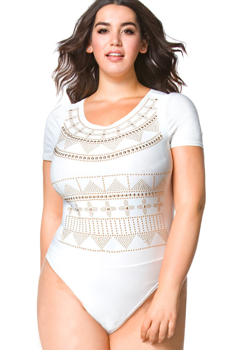 Marie Plus Size Studded Bodysuit for Women