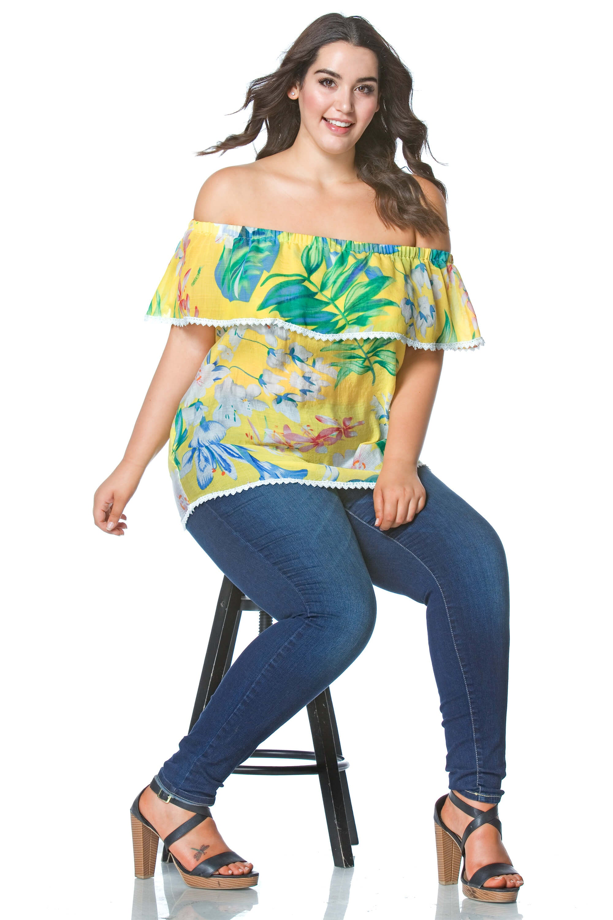 Lauren+ Tropical Off the Shoulder Top in Yellow, Plus Size - shoptoni.com