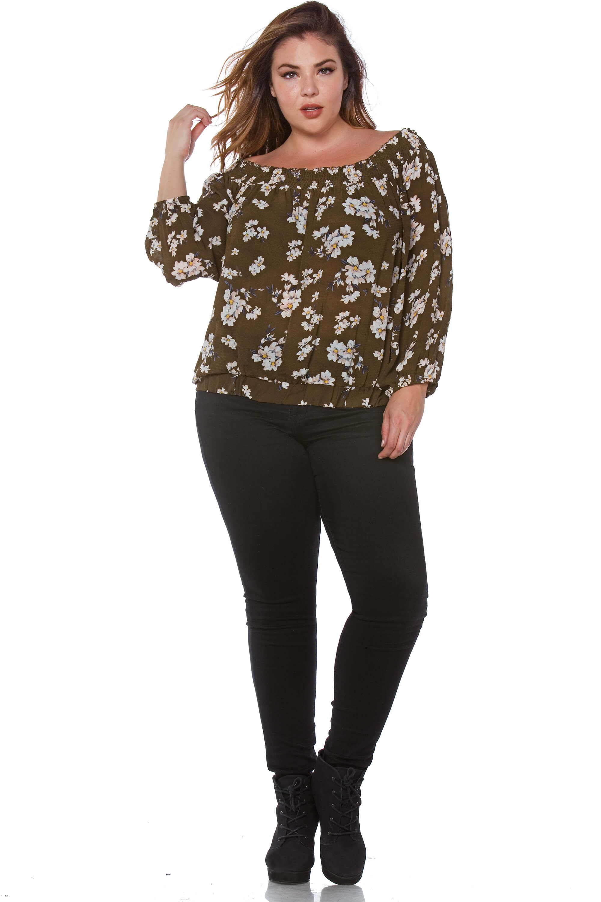 Leigh Plus Size Soft Rayon Off the Shoulder Top for Women