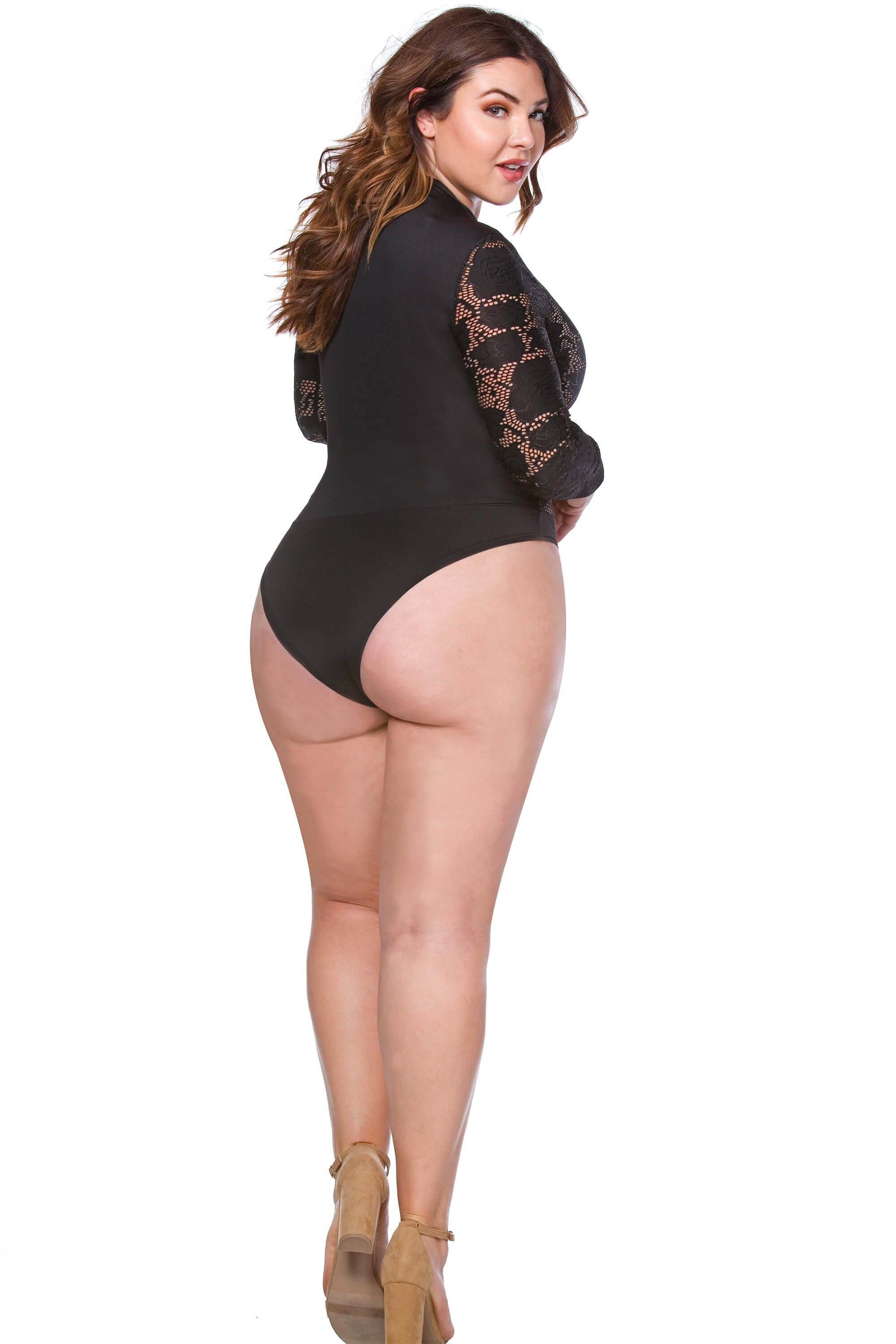 Jackie Plus Size Laced Up Bodysuit for Women