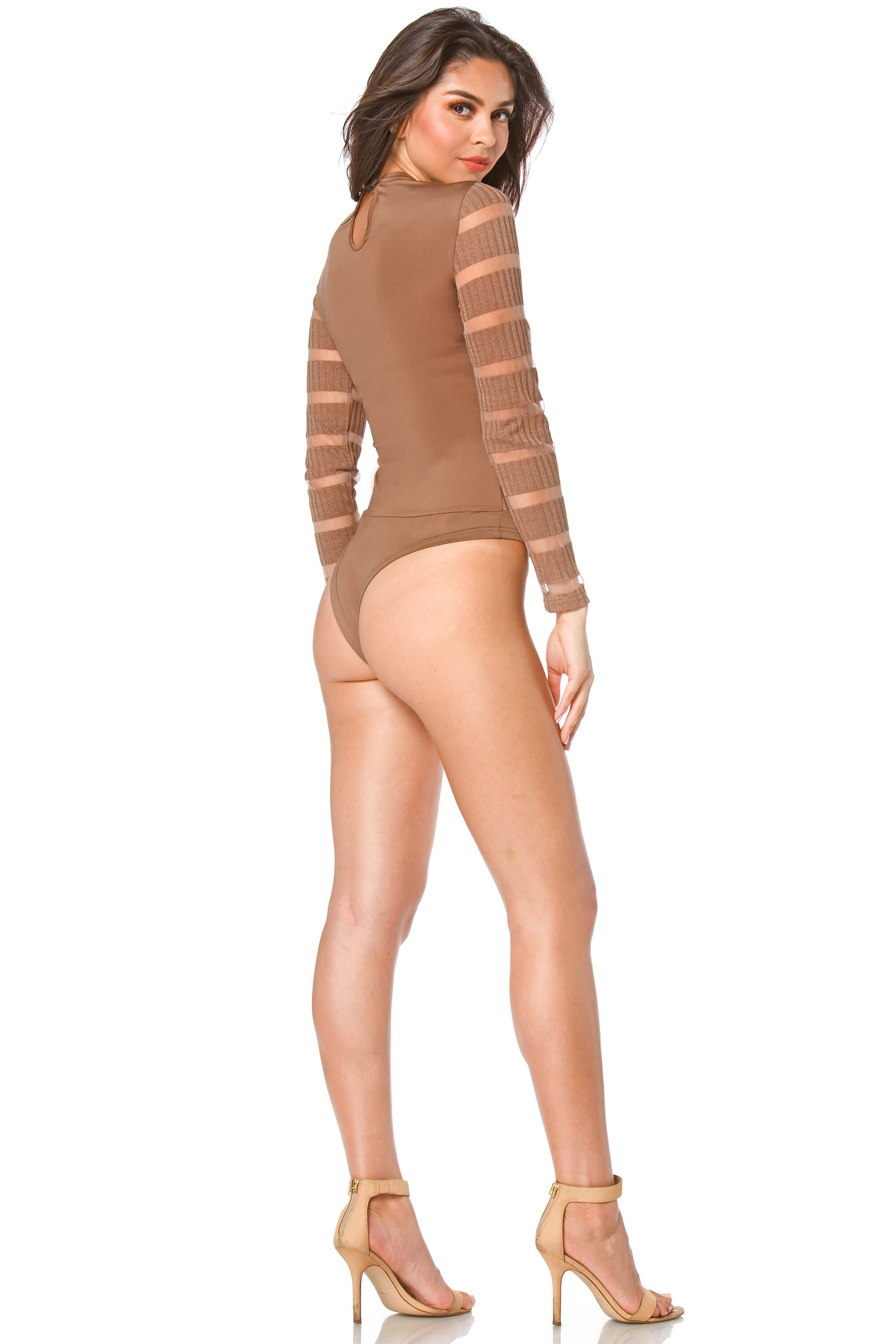 Tara Sheer Mesh Line Design Bodysuit for Women