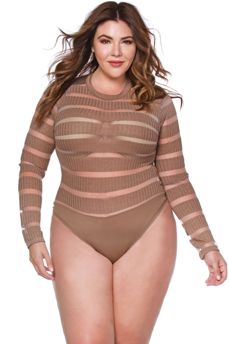Tara Plus Size Sheer Mesh Line Design Bodysuit for Women